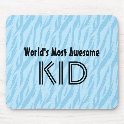 Blue and Aqua Zebra Print World's Most Awesome Kid Mousepads