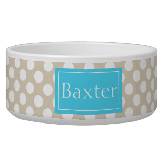Blue And Beige Polka Dots Pattern With Name Dog Food Bowls