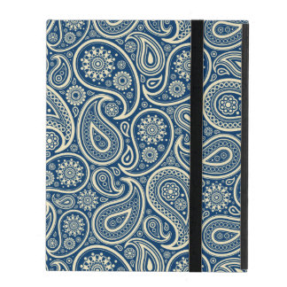 Blue And Beige Vintage Paisley Pattern iPad Folio Case