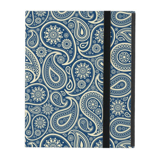 Blue And Beige Vintage Paisley Pattern iPad Folio