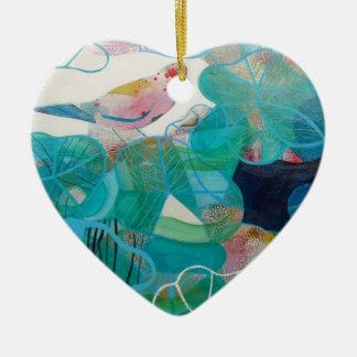Blue and Bird Ceramic Heart Decoration