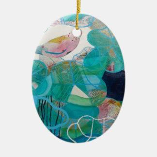 Blue and Bird Ceramic Oval Decoration
