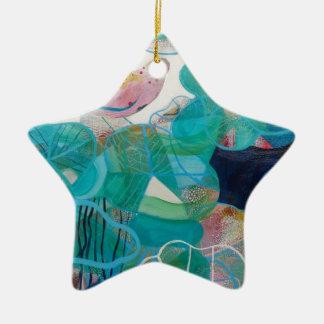 Blue and Bird Ceramic Star Decoration