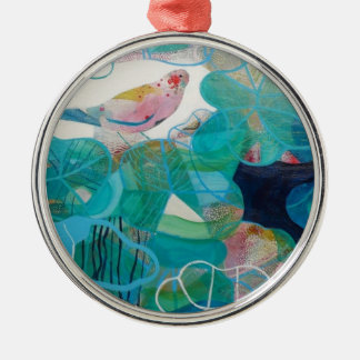 Blue and Bird Silver-Colored Round Decoration