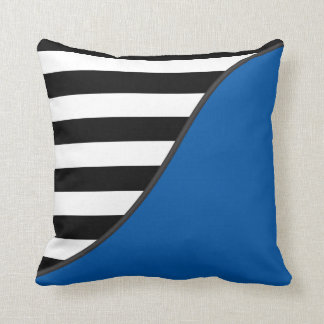 Blue and Black and White Stripes Reversible Cushion