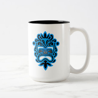 Blue and Black Aztec Mask Two-Tone Mug