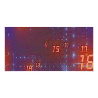 blue and black back with orange digital numbers photo card