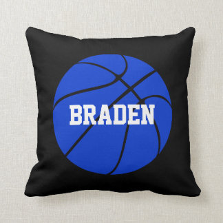 Blue and Black Basketball Custom Text Throw Pillow