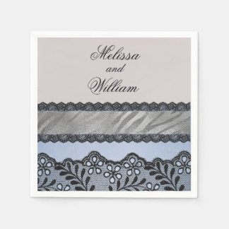 Blue and Black Beauty Paper Napkin