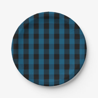 Blue and Black Buffalo Check Plaid Pattern Paper Plate