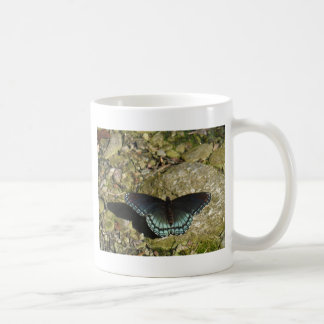 Blue and Black Butterfly Basic White Mug