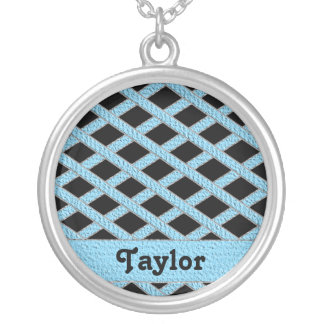 Blue and black crisscross monogram necklace round pendant necklace