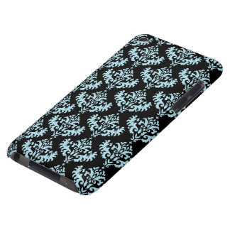 Blue and Black Damask Pattern iPod Touch Cover