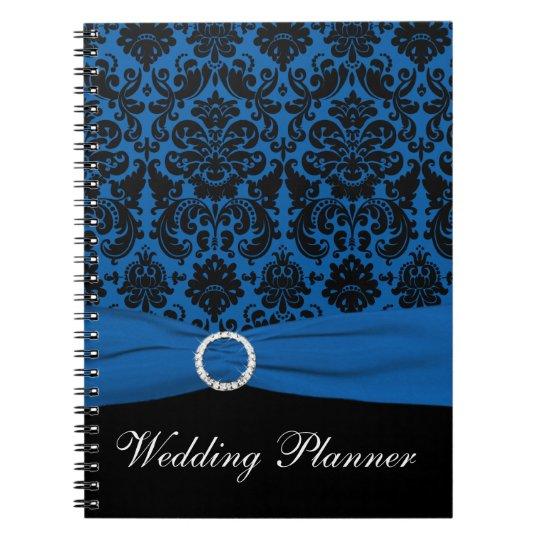 Blue and Black Damask Wedding Planner Notebook