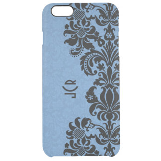Blue And Black Damasks And Lace Clear iPhone 6 Plus Case
