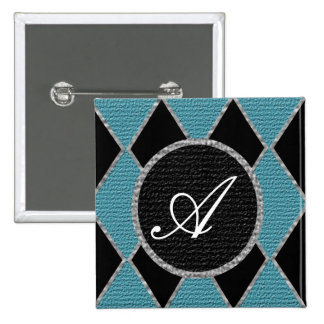Blue and black diamond monogram sparkle button