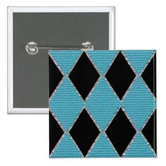 Blue and black diamond sparkle button