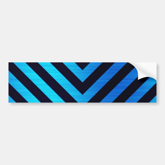 Blue and Black Downward Hazard Stripes Bumper Sticker