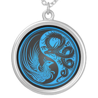 Blue and Black Dragon Phoenix Yin Yang Silver Plated Necklace