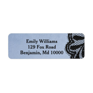 Blue and Black Elegant Faux Lace Return Address Label