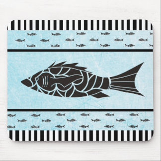 Blue and Black Fish  Seahorse Starfish Mouse Pad
