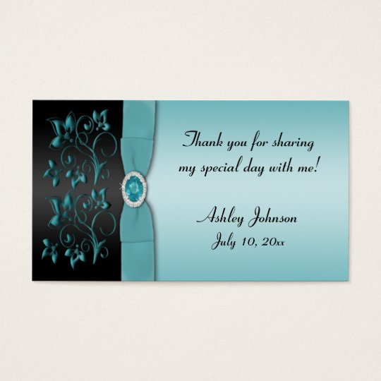Blue and Black Floral Party Favour Tag