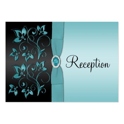 Blue and black floral reception enclosure card zazzle