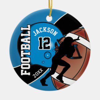Blue and Black Football Player Christmas Ornament