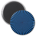 Blue and Black Funky Striped Abstract Art 6 Cm Round Magnet