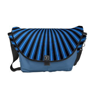 Blue and Black Funky Striped Abstract Art Courier Bags