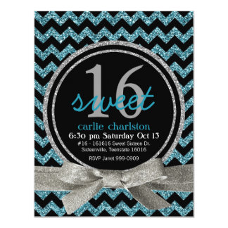 Blue and Black Glitter Look Chevron Sweet 16 Party 4.25x5.5 Paper Invitation Card
