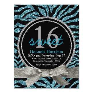 Blue and Black Glitter Look Zebra Sweet 16 Party 11 Cm X 14 Cm Invitation Card