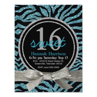 "Blue and Black Glitter Look Zebra Sweet 16 Party 4.25"" X 5.5"" Invitation Card"