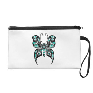 Blue and Black Haida Spirit Butterfly on White Wristlet Clutch