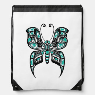 Blue and Black Haida Spirit Butterfly on White Drawstring Backpack
