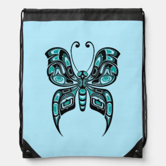 Blue and Black Haida Spirit Butterfly Cinch Bags