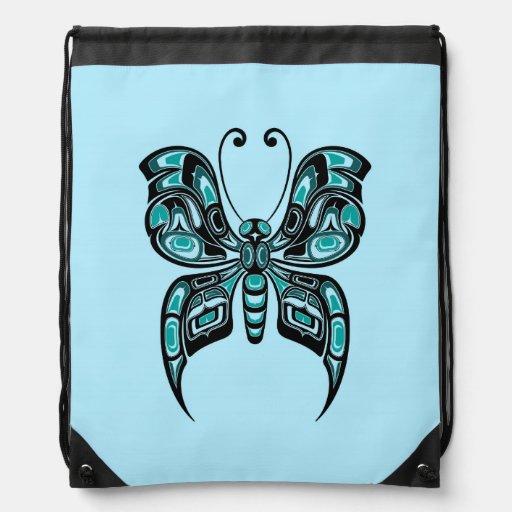 Blue and Black Haida Spirit Butterfly Cinch Bags