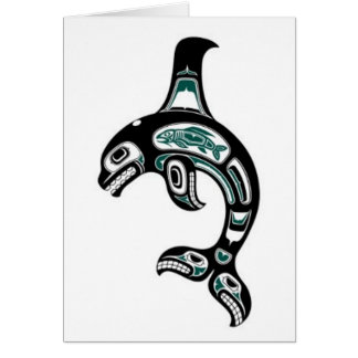 Blue and Black Haida Spirit Killer Whale Greeting Card