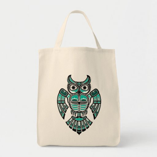 Blue and Black Haida Spirit Owl Canvas Bag