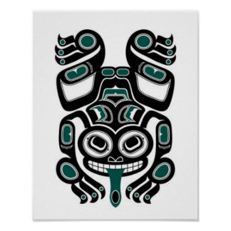 Blue and Black Haida Spirit Tree Frog Poster