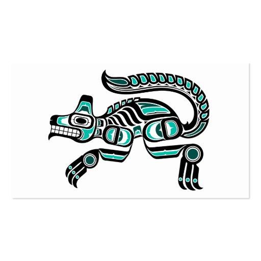 Blue and Black Haida Spirit Wolf Business Card Template