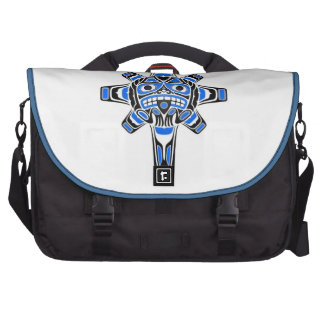 Blue and Black Haida Sun Mask on White Laptop Bags