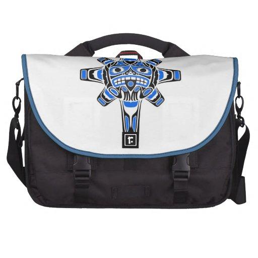 Blue and Black Haida Sun Mask on White Laptop Bags