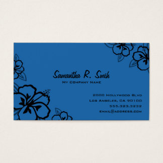 Blue and Black Hibiscus Business Card