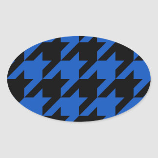 Blue and Black Houndstooth Patterned Oval Stickers
