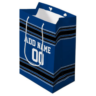 Blue and Black Jersey Stripes Custom Name Number Medium Gift Bag