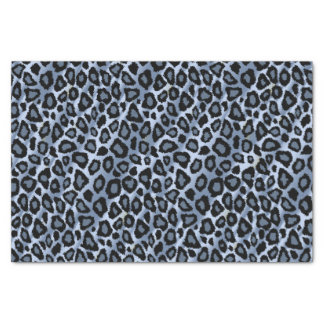 Blue and Black Leopard Animal Print Tissue Paper