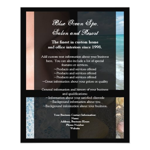 Blue and Black Luxury Spa Resort Theme Flyers