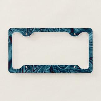 Blue and black ocean swirl licence plate frame