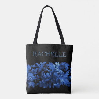 Blue and Black Painted Baroque Border with Name Tote Bag